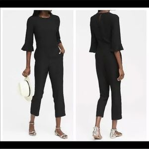 Banana Republic Flounce Long Sleeve Black Jumpsuit